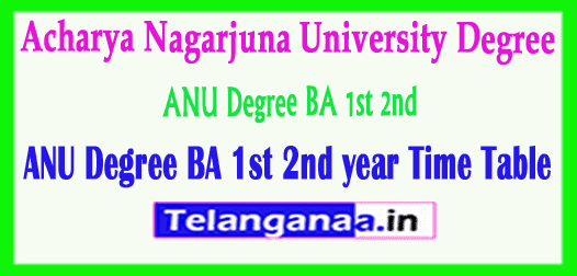 ANU Degree Acharya Nagarjuna University BA 1st 2nd Year Time Table 2019