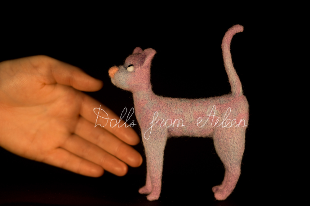 ooak needle felted cat with human hand