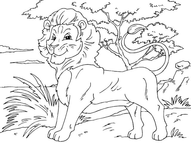 Gambar Mewarnai Singa Untuk Anak - 2