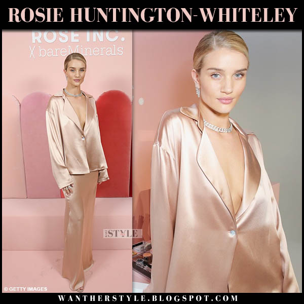 Rosie Huntington-Whiteley in blush pink silk blouse and silk pink maxi skirt sablyn feminine style october 26