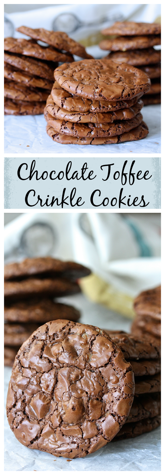 These Chocolate-Toffee Crinkle Cookies are essentially just soft and rich brownies or truffles in a cookie form.