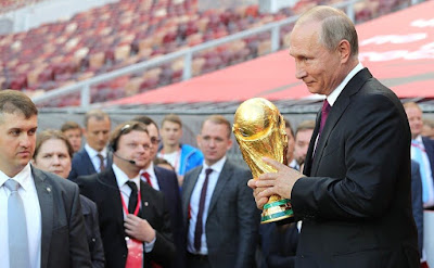Vladimir Putin during his visit to Luzhniki Stadium in Moscow.