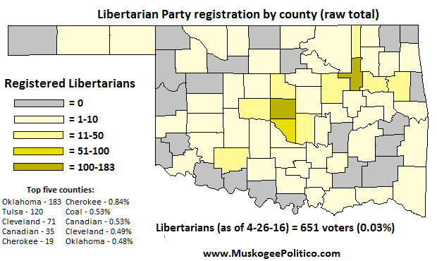 Map Oklahoma Libertarian Party Registration By County OKG News - Map of counties in oklahoma