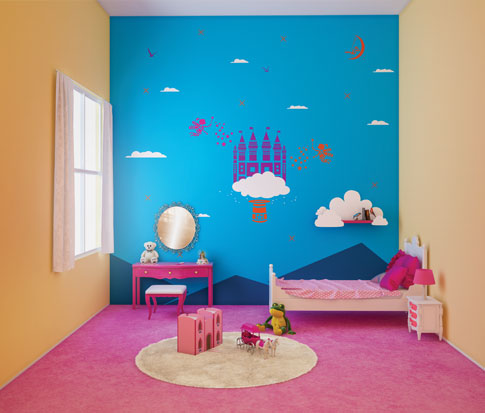 غرفة نوم بنت لون جدار حائط