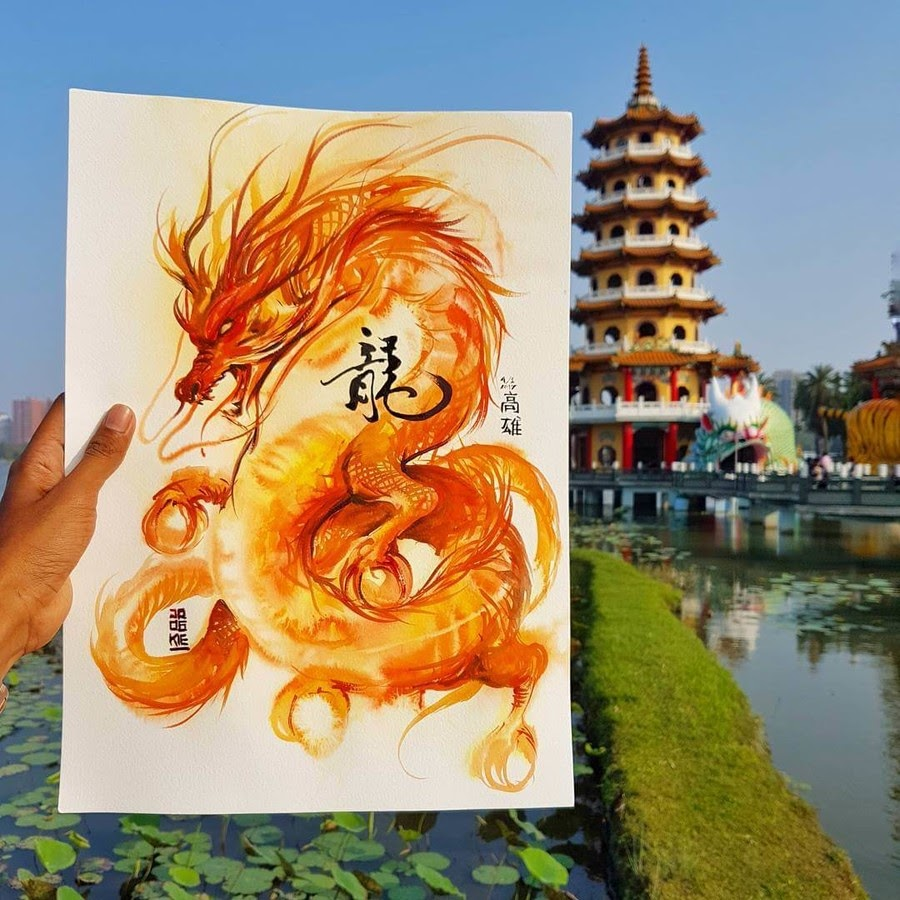 04-Dragon-and-Tiger-Pagoda-LR-Mulyono-Watercolor-Paintings-www-designstack-co