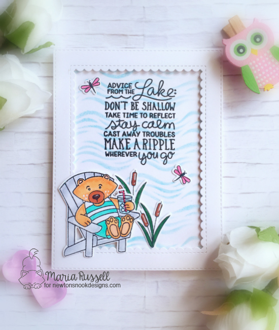 Advice from the Lake Card by Maria Russell | Winston's Lake House and Lake Advice Stamp Sets with Waves Stencil by Newton's Nook Designs  #newtonsnook