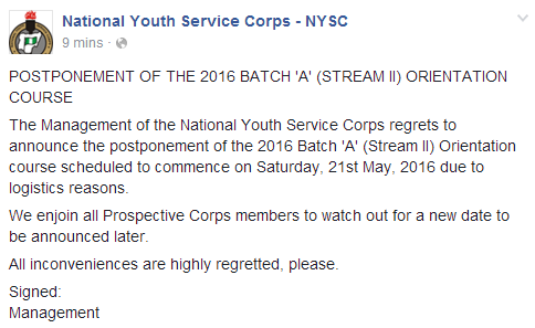 Official: NYSC Batch A Stream II Orientation Postponed (Screenshot)
