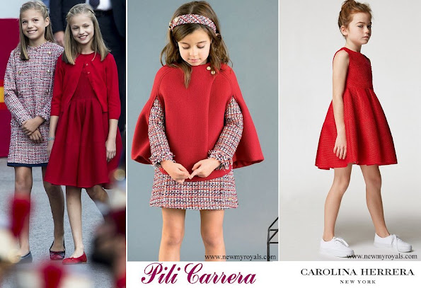 Infanta Sofia wore Pili Carrera dress from Fall 2017-2018 Collection and Princess Leonor wore Carolina Herrera dress from  Children Spring/Summer 2017 Collection