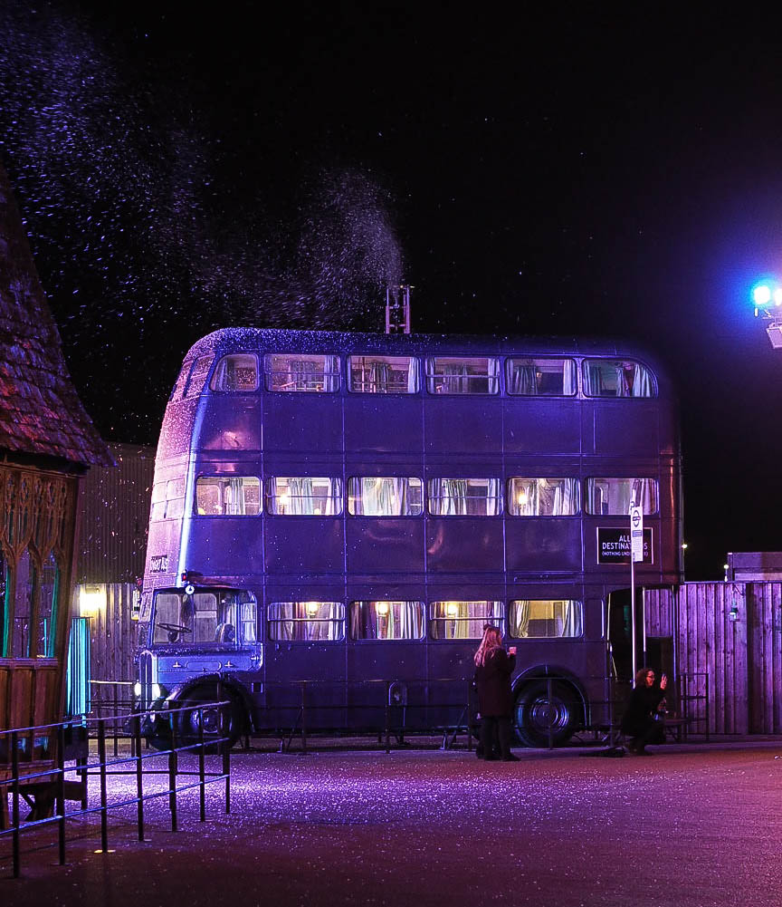 Knight Bus in Hogwarts in the Snow at Warner Brothers Studio Tour, London