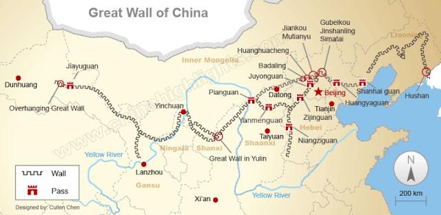 peta tembok besar china