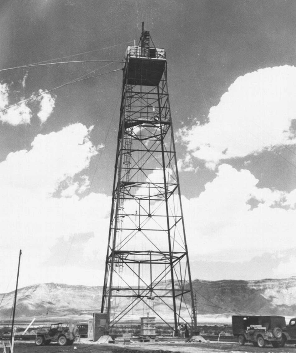 For the test, the Gadget was lifted to the top of a 100-foot (30 m) bomb tower.