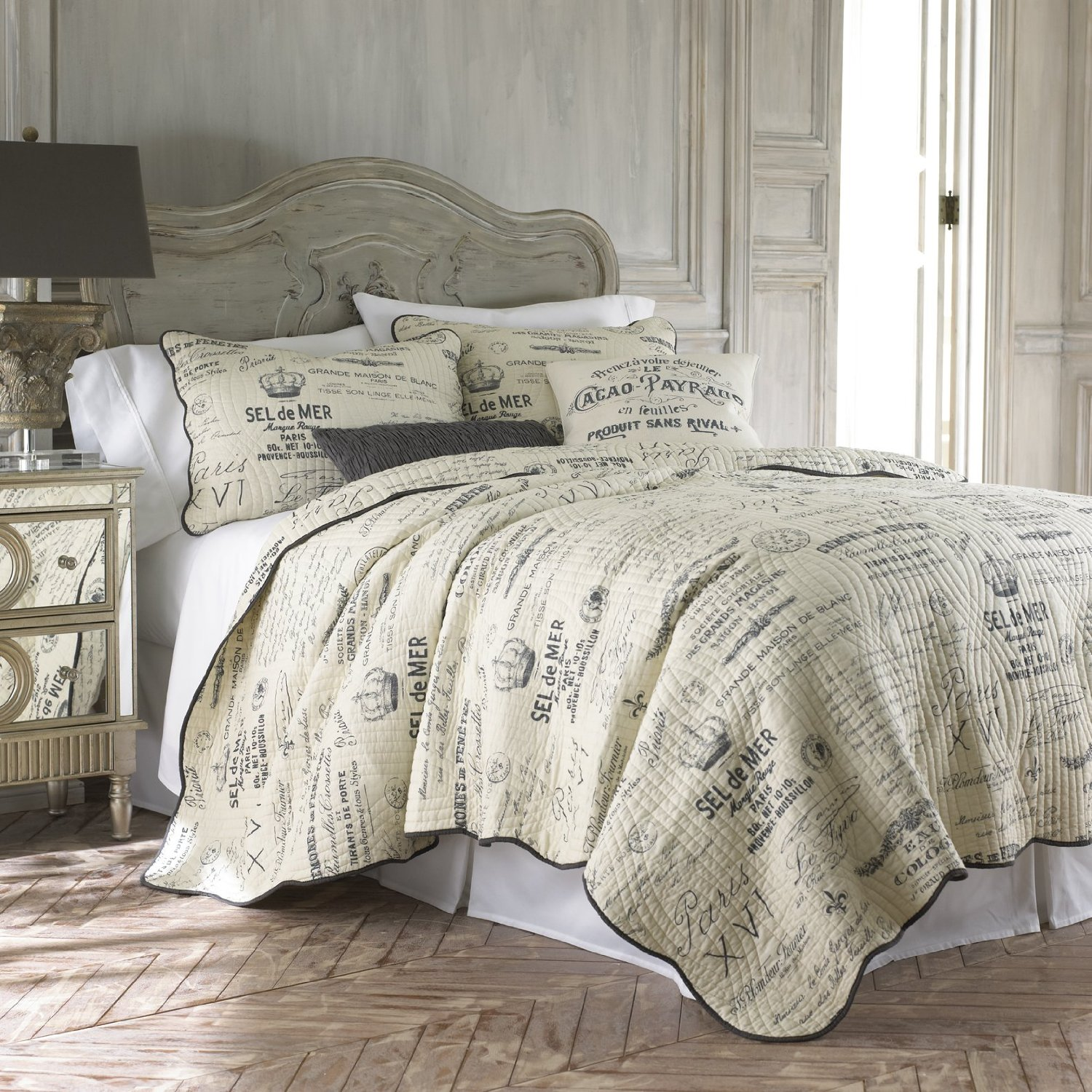 French Script Comforter Sets Quilted W Pillow Shams