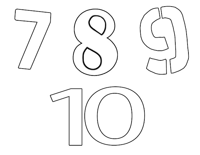 Page for children to colour with the numbers seven to ten.