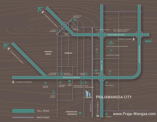 Peta lokasi Prajawangsa City Jakarta Apartemen