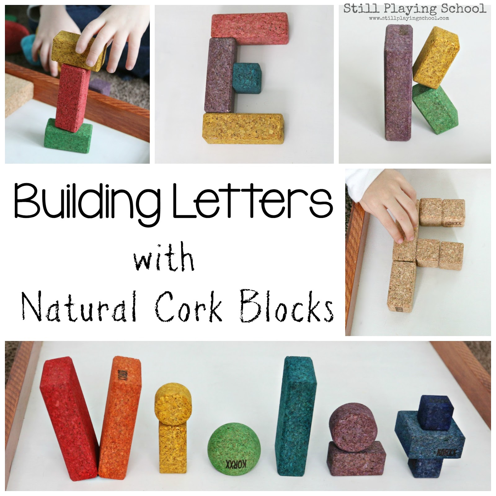 Letter formation with korxx cork building blocks still for Building letters