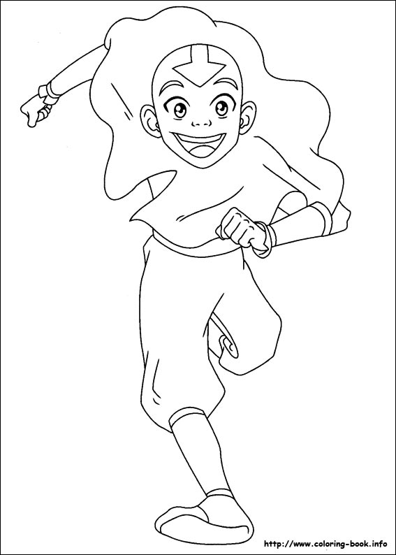 Coloring & Activity Pages: Aang Running Coloring Page