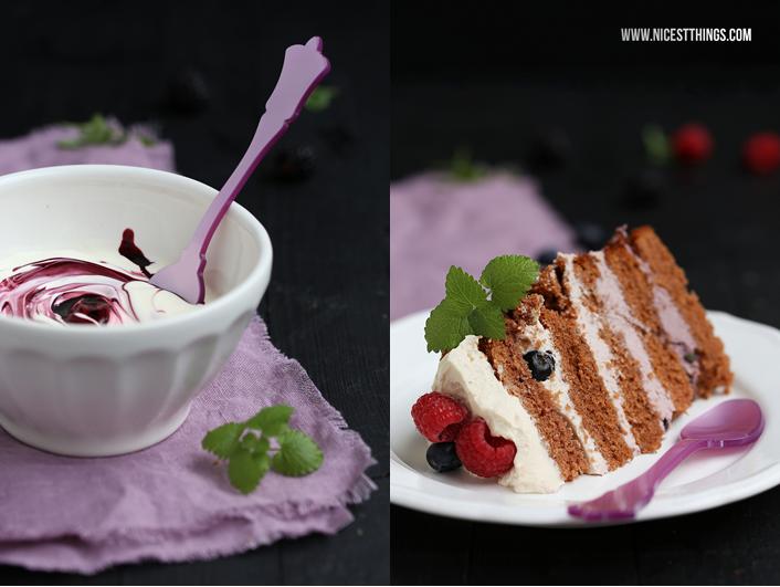 Ombre Beeren Torte natürlich gefärbt