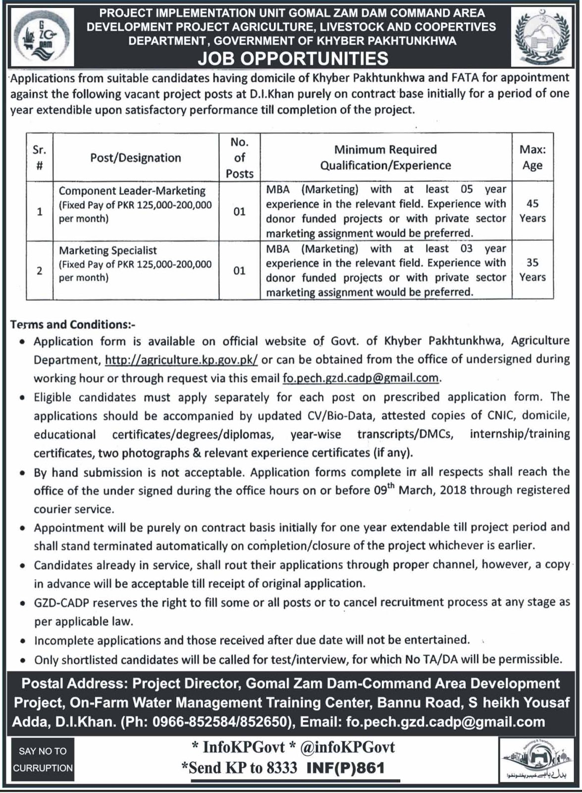 Jobs In Agriculture Department Govt Of KPK for Marketing Specialist and others