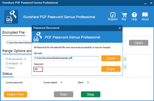 find pdf open password fast in lan