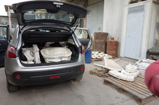 Loading up Sculpture Molds from foundry in Pietrasanta Italy