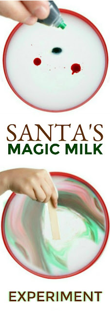 """SANTA'S MAGIC MILK""  Super fun science for kids! My littles were in awe!  #magicmilk #scienceforkids #christmasactivitiesforkids"