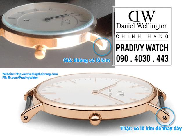 Đồng hồ DW fake không có lỗ xỏ kim để thay dây đồng hồ nhanh chóng