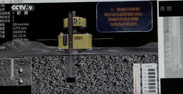 Chang'e-5 lunar sample return drilling simulation tests, being carried out by the China Academy of Space Technology. Credit: Framegrab/CCTV