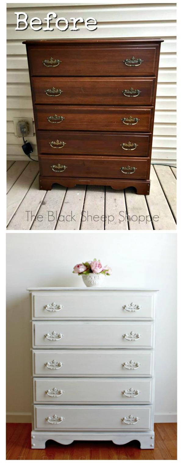 Before and after photos of dresser painted in Old White Chalk Paint.
