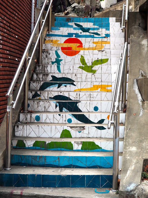 Street art on stairs in Jungang-dong, Busan, South Korea