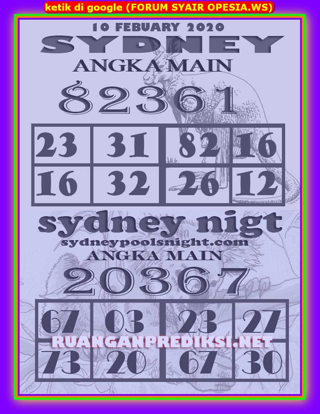 Kode syair Sydney Senin 10 Februari 2020 143