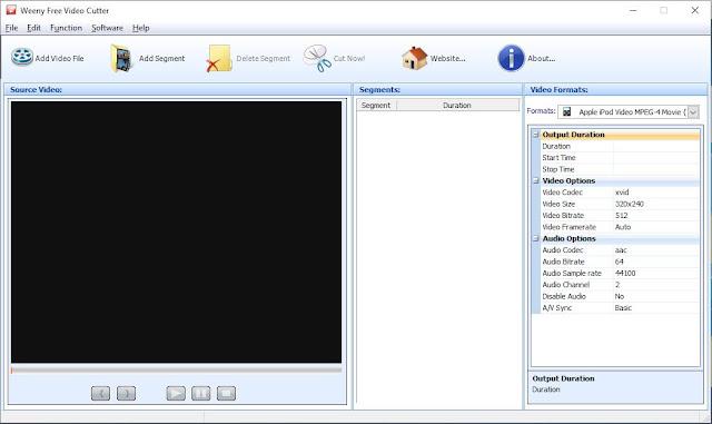 برنامج تقطيع الفيديو لمقاطع صغيرة Weeny Free Video Cutter