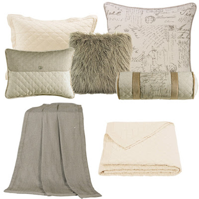 Fairfield Bedding Script Euro sham, Fairfield throw, neckroll and decorative pillow, taupe Mongolian faux fur throw