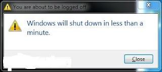 shutdown message displayed windows
