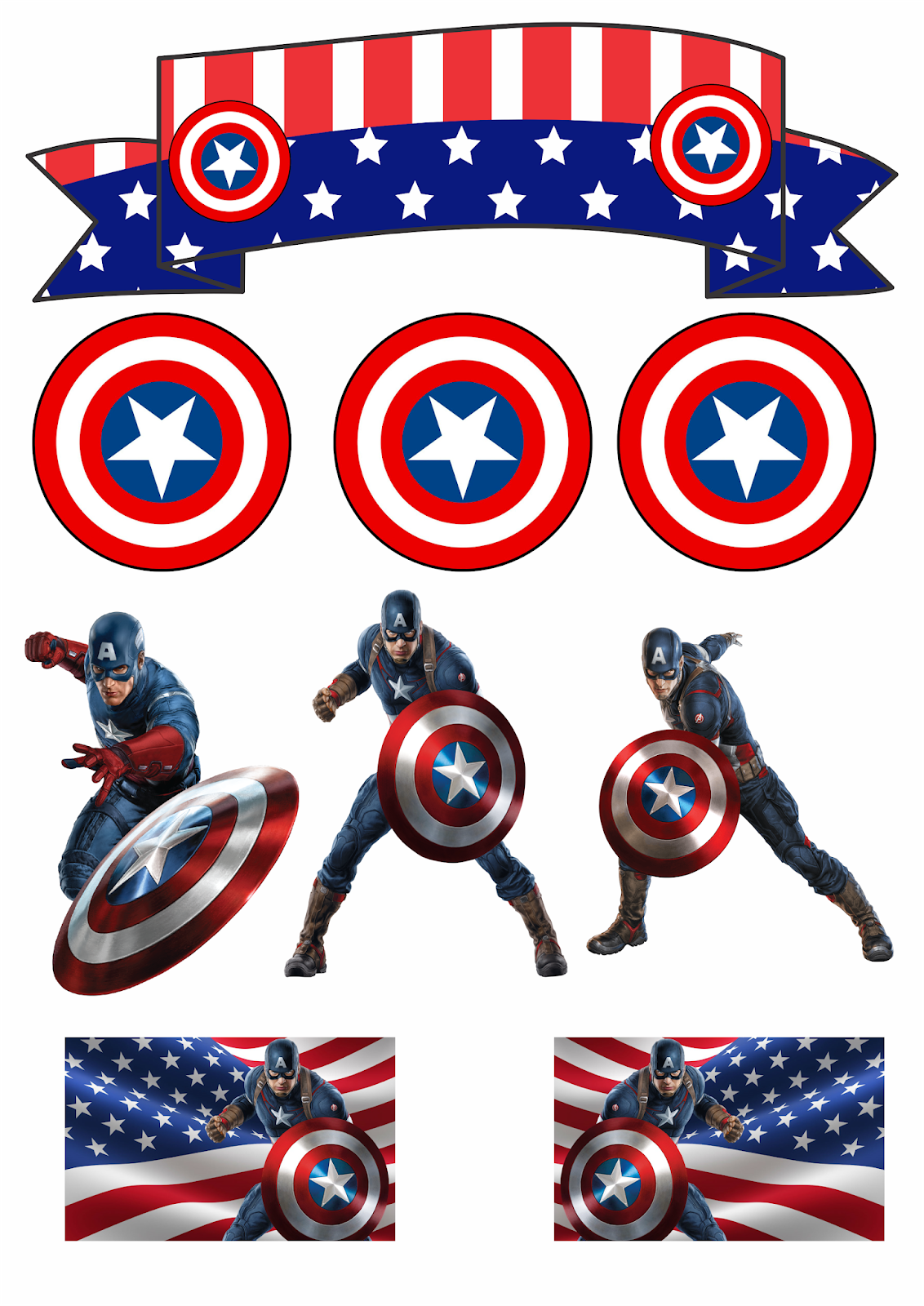 picture about Captain America Printable identified as Captain The usa: Absolutely free Printable Cake and Cupcake Toppers