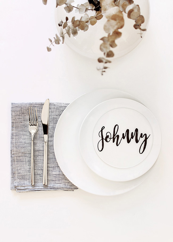 Diy plexiglas calligraphy placecards by Almost Makes Perfect