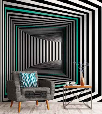 New 3D wallpaper for walls of living room in modern style
