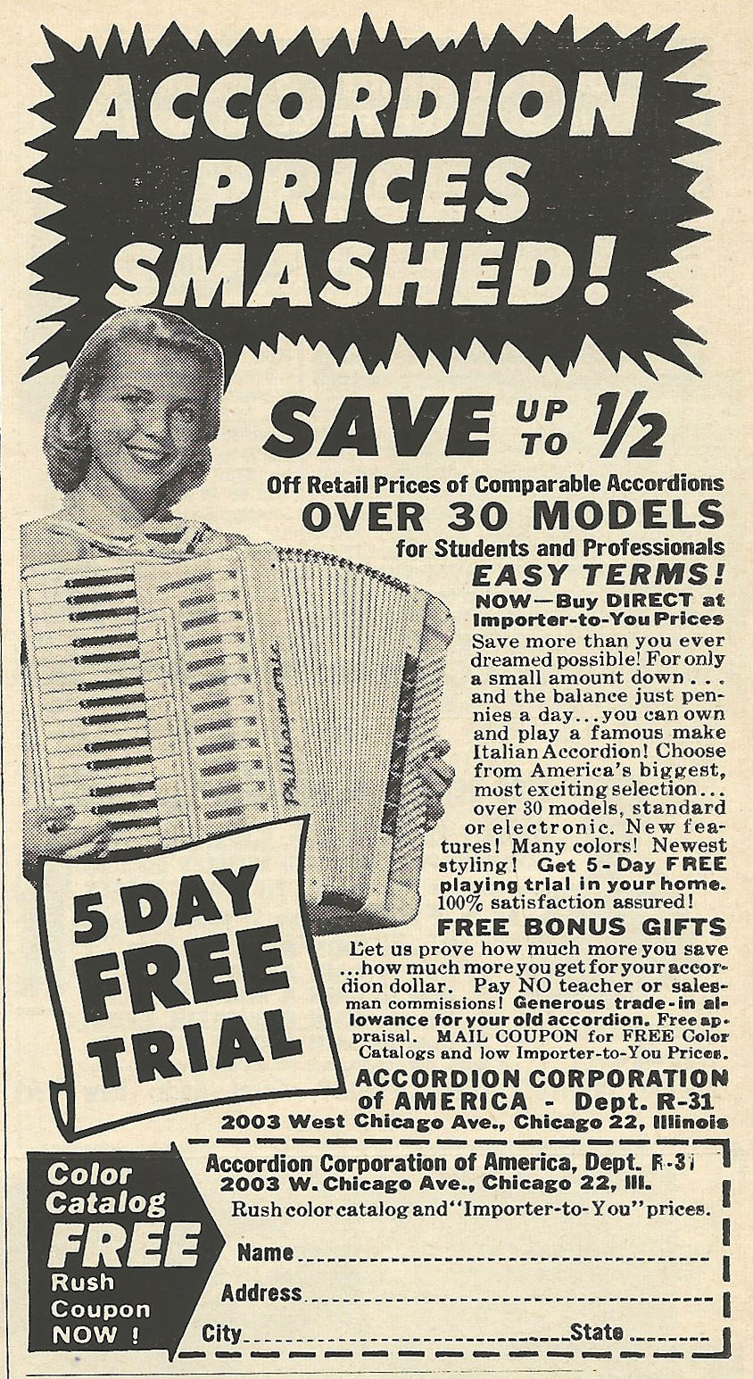 old ads are funny 1961 ad accordion prices smashed. Black Bedroom Furniture Sets. Home Design Ideas