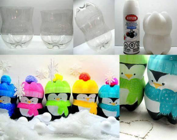 Idea to make something from bottle for kids : penguins