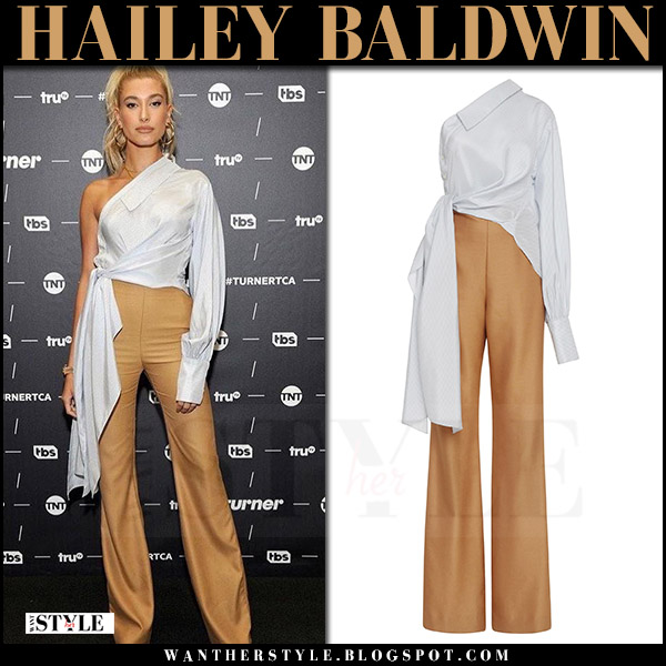 Hailey Baldwin in one shoulder white shirt and brown trousers jumpsuit jonathan simkhai what she wore july 27 2017