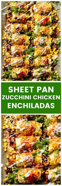 SHEET PAN ZUCCHINI CHICKEN ENCHILADAS