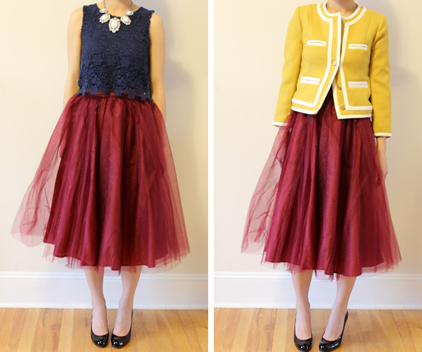 Wear It Five Ways: Midi Length Tulle Skirt