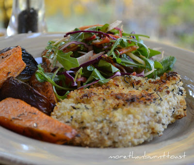 healthy chicken schnitzel served with the best autumn coleslaw