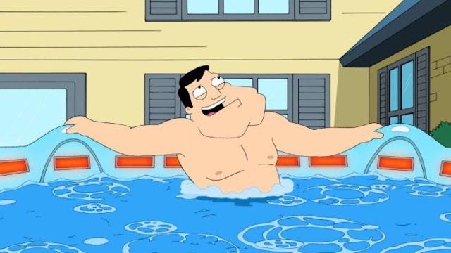 Cartoon of American Dad in hot tub