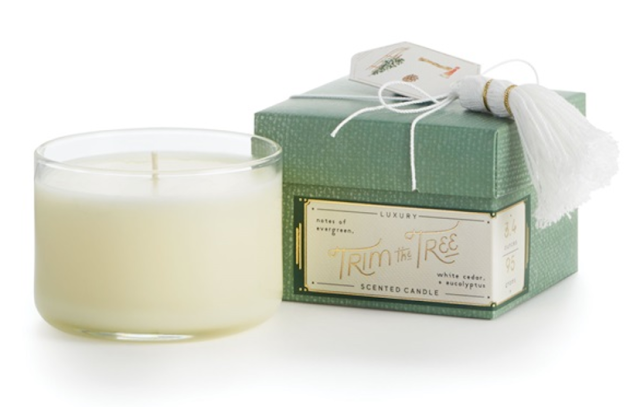 Illume scented candle in gift box with white cotton tassel topper