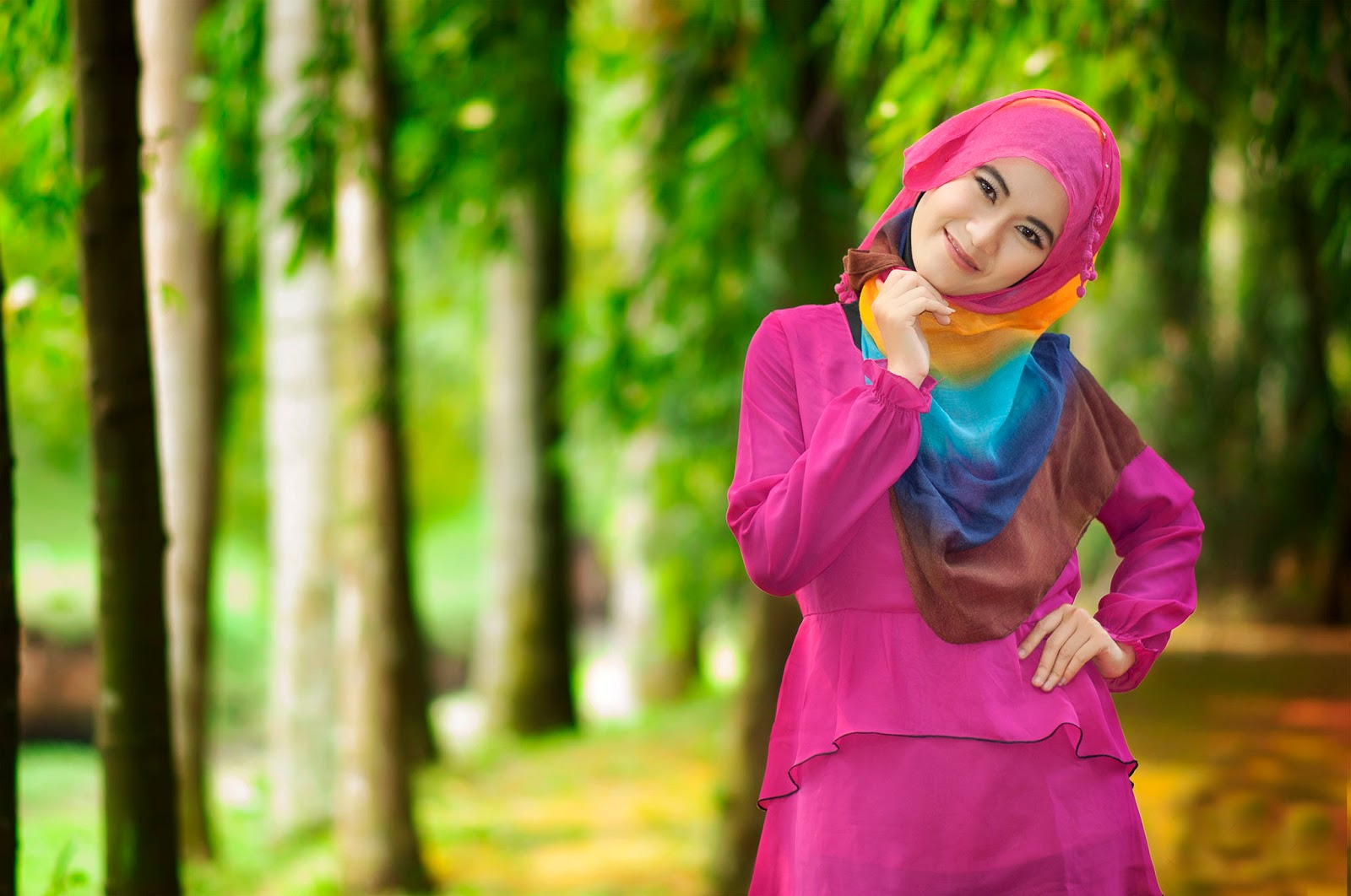 indoor manis cewek Hijab Foto Outdoor full color