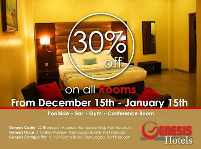 Genesis Hotel Port Harcourt now offers a 30% discount on all rooms.