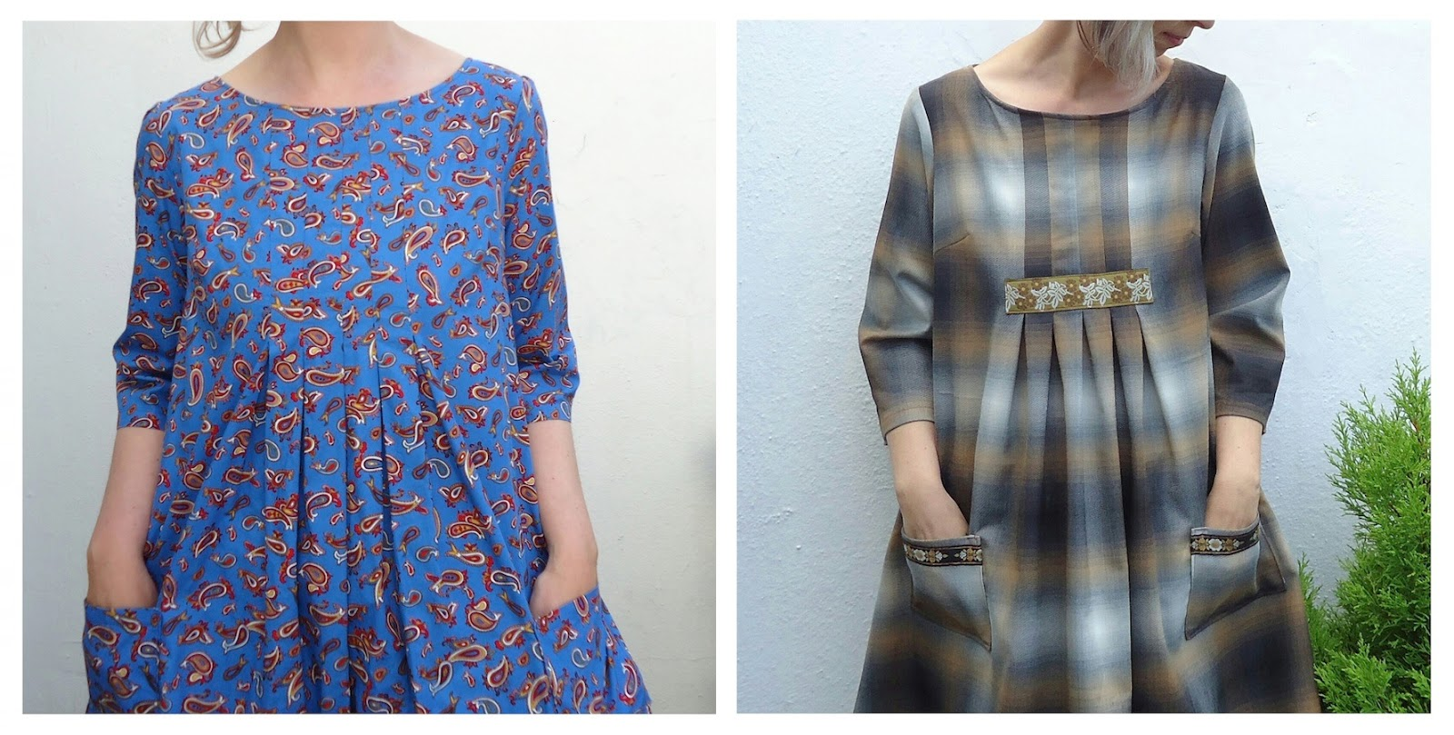 Two versions of Dress E in blue paisley cotton (left), and plaid suiting (right)