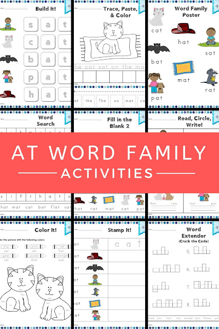 This at Word Family Word Work and Activities pack includes over 30 different student centered phonics activities, not just worksheets, that promote reading, tracing, writing, building, cutting, pasting, and creating words in the at word family with little to no prep work for you. #wordwork #phonics #atwordfamily #teacher
