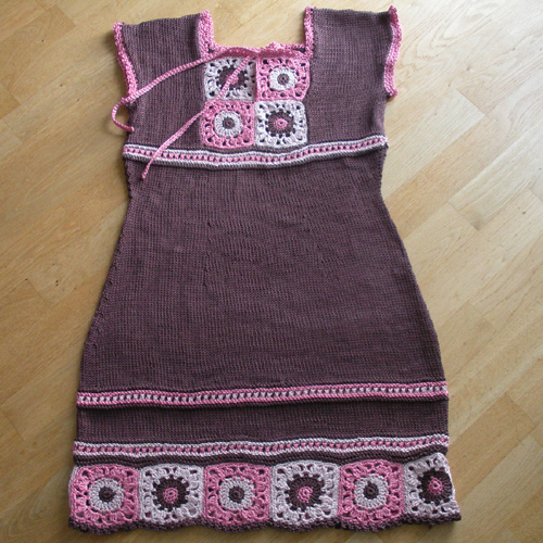 Knit Dress with Crochet Squares - Free Pattern