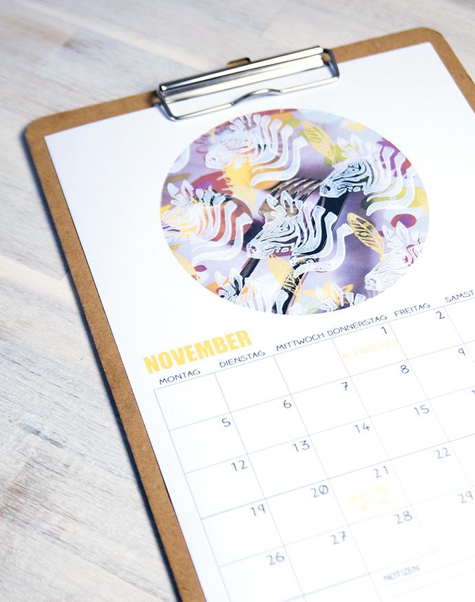 Ynas Blog | Kalender 2018 | Novembermotiv | Zebras und Blätter
